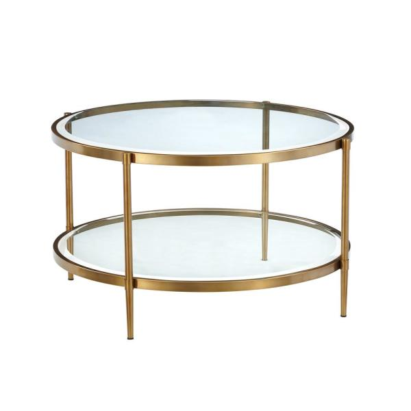 Boyel Living 32 In Clear Gold Medium Round Glass Coffee Table With Storage Shelf Ct 1353r The Home Depot