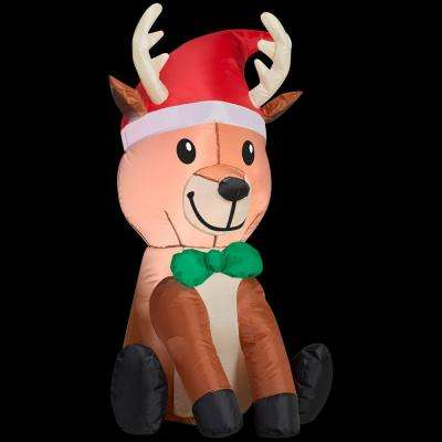 22.84 in. D x 23.62 in. W x 42.13 in. H Inflatable Outdoor Reindeer with Hat