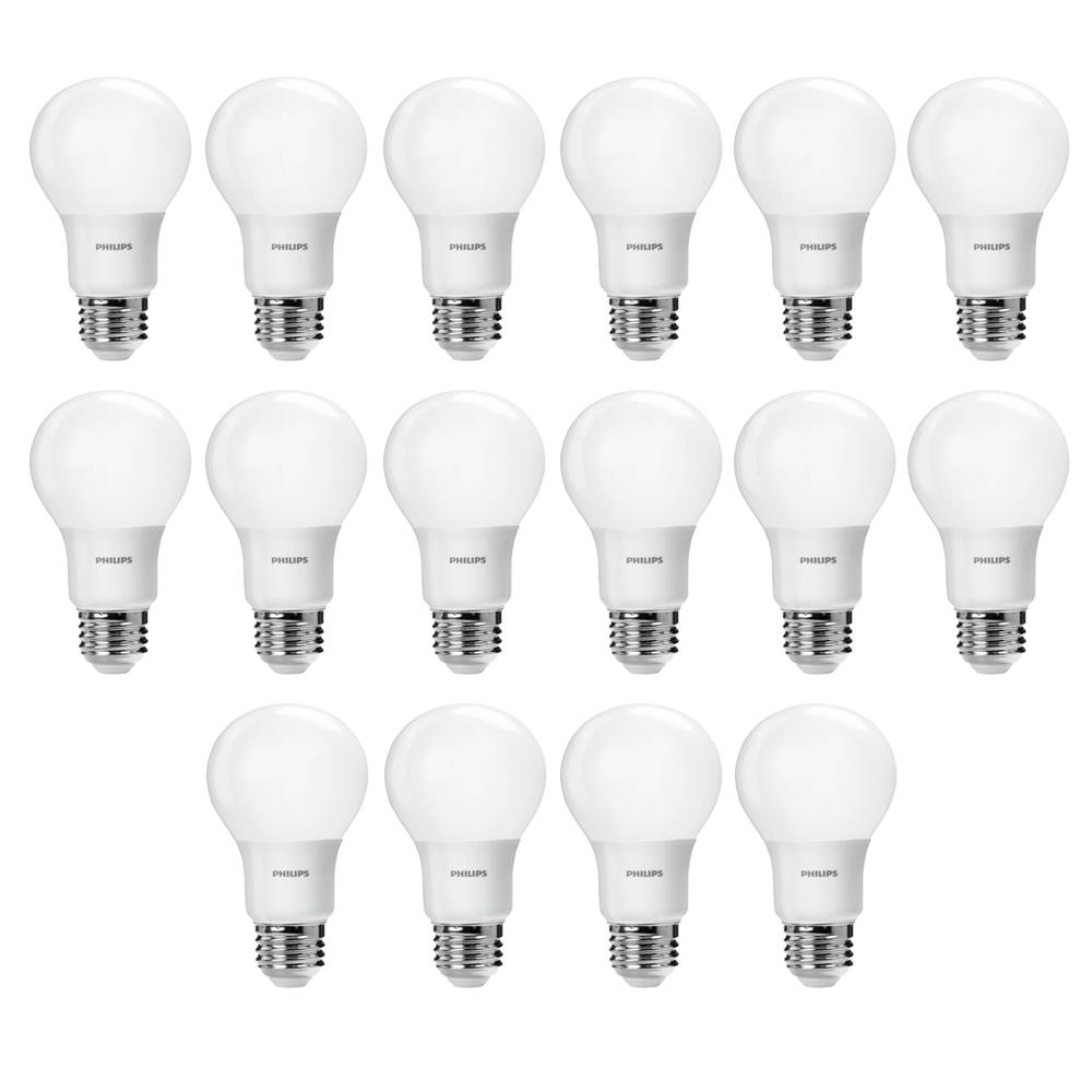 Philips 60-Watt Equivalent A19 Non-Dimmable Energy Saving LED Light Bulb Daylight (5000K) (16-Pack)