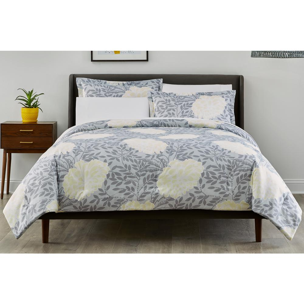 Jordana 3-Piece Stone Gray/ Lemon Custard Floral Reversible Full/Queen Comforter Set