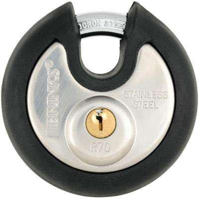 70 mm Stainless-Steel Commercial Discus Keyed Padlock with Boron Shackle