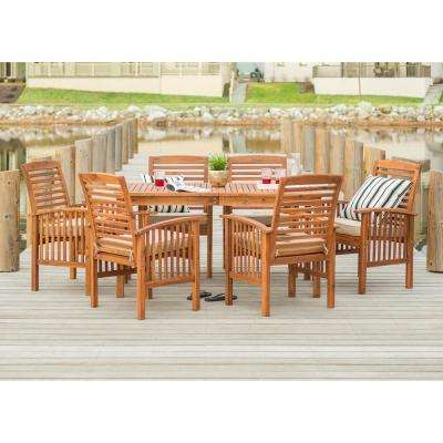 7-Piece Brown Acacia Wood Patio Dining Set with White Cushion
