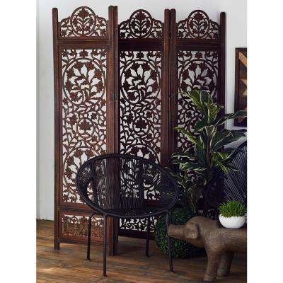 6 ft. Dark Brown Wood 4-Panel Room Divider