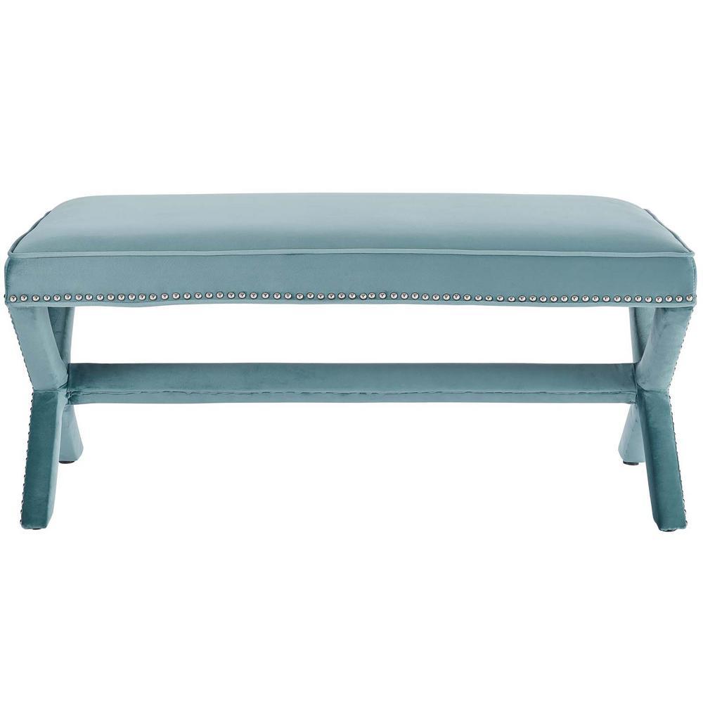 Rivet Sea Blue Upholstered Velvet Bench