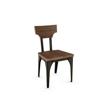 Station Semi-transparent Gun Metal with Medium Brown Wood Seat Dining Chair (Set of 2)