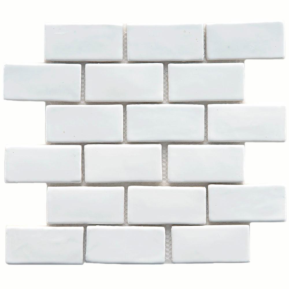 Merola Tile Cobble Subway White 12 in. x 12 in. x 13 mm Ceramic Mosaic Tile