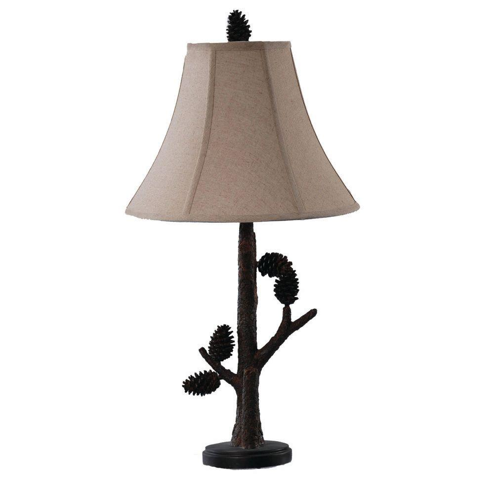 Absolute Decor 27.5 in. Natural Pinecone Table Lamp