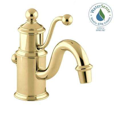 Antique Single Hole Single-Handle Low-Arc Water-Saving Bathroom Faucet in Vibrant Polished Brass