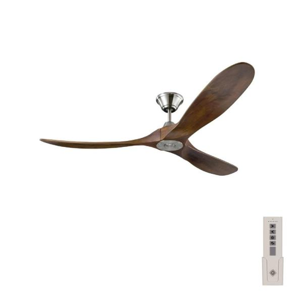 Maverick 60 in. Indoor/Outdoor Brushed Steel Ceiling Fan with Dark Walnut Balsa Blades, DC Motor and Remote Control