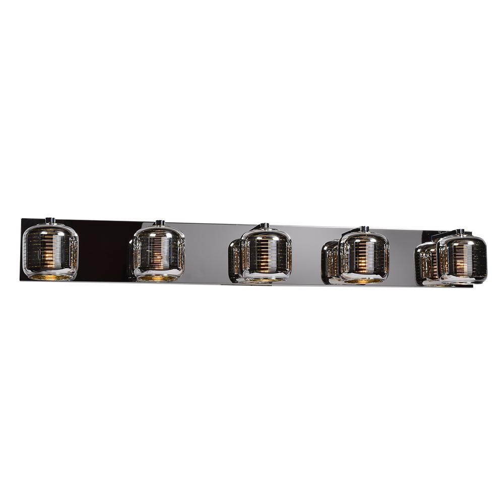 Dor 39.25 in. W 4.5-Watt Mirrored Stainless Steel Integrated LED Bath Light