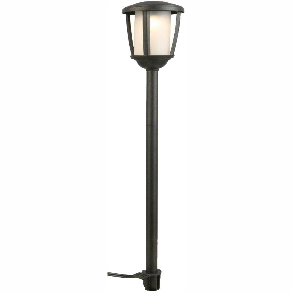 Hampton Bay Low-Voltage Black Outdoor Integrated LED Landscape Path Light with Frosted Inner Lens