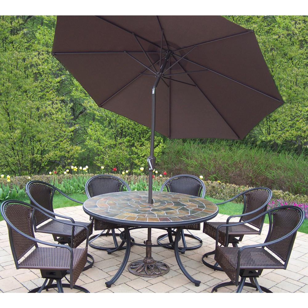 9-Piece Metal Outdoor Dining Set with Brown Umbrella