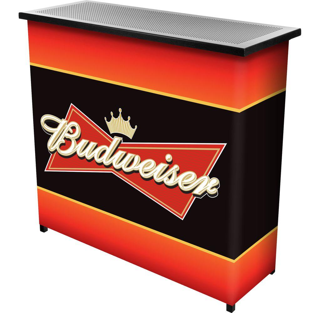 Budweiser 2-Shelf Black Bar with Case