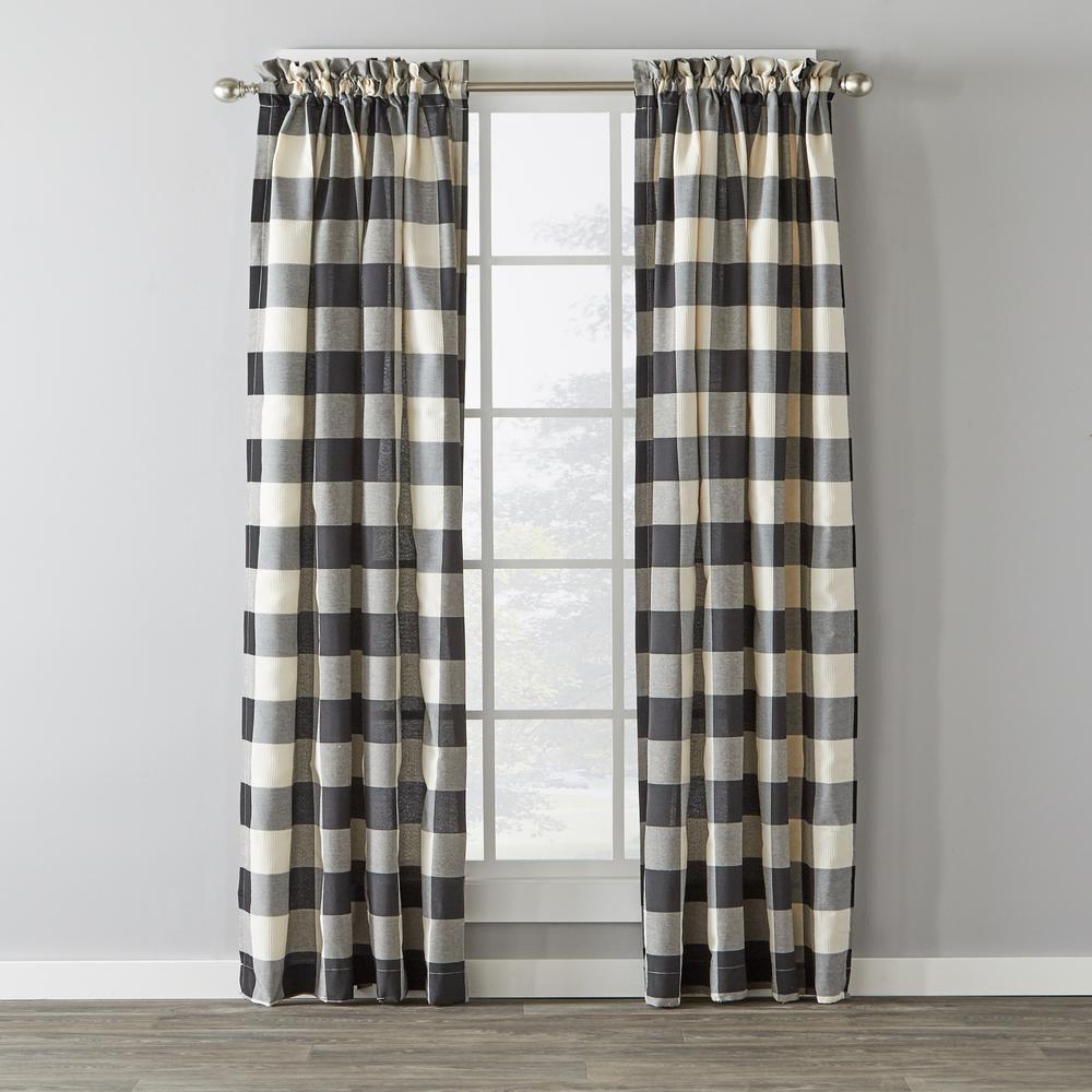 Grandin 40 in. W x 84 in. L Polyester Window Panel in Black