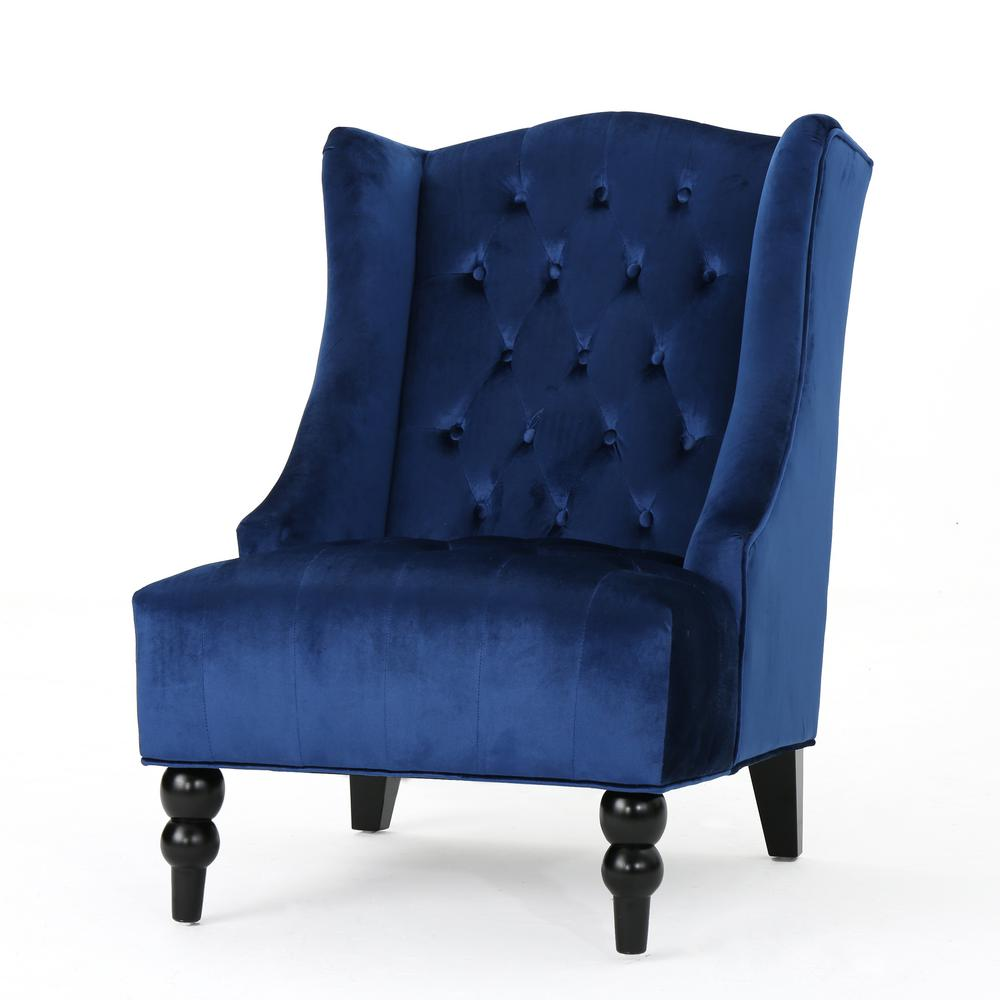Noble House Toddman Navy Blue New Velvet High Back Club