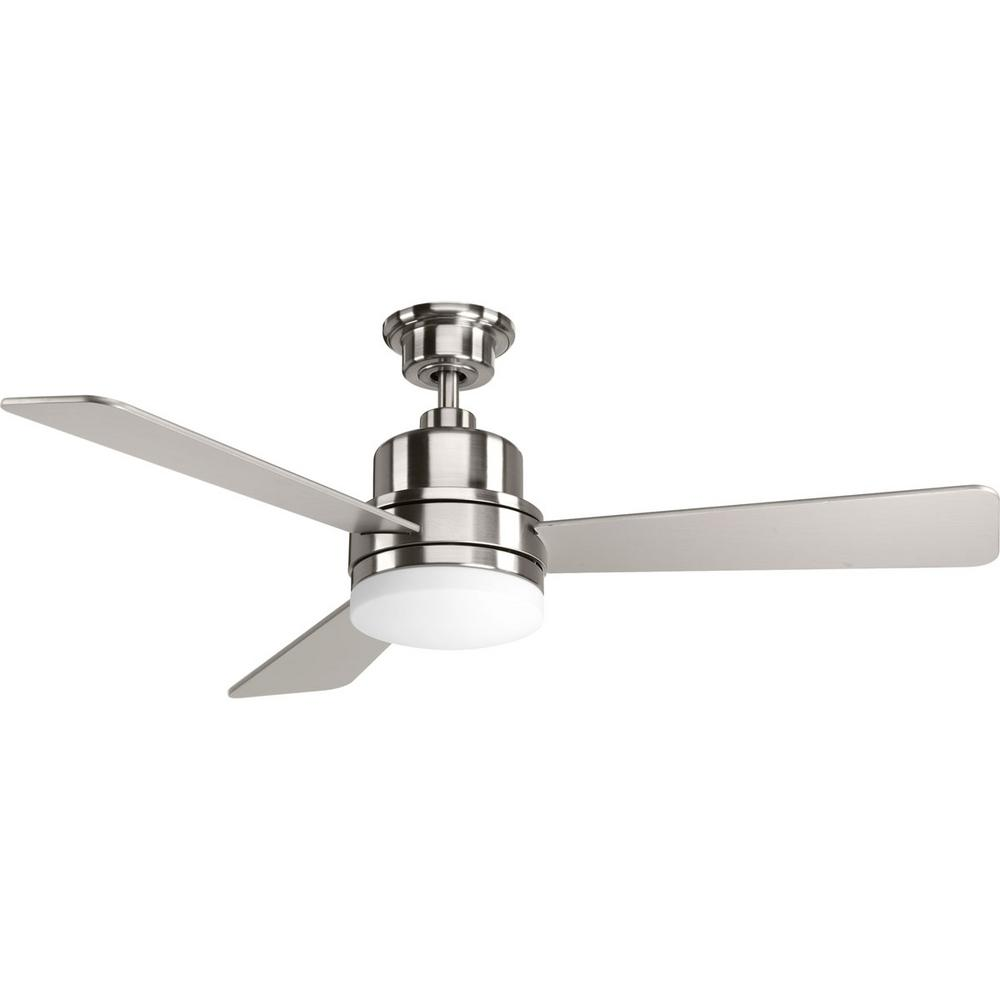 Progress Lighting Trevina Collection 52 In Indoor Brushed Nickel Modern Ceiling Fan With Light Kit