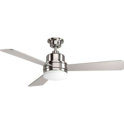 Trevina Collection 52 in. Indoor Brushed Nickel Modern Ceiling Fan with Light Kit