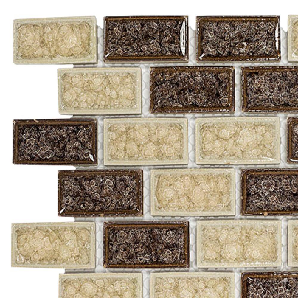 Jeffrey Court Hazelnut Butter Crackle 3 in. x 6 in. x 8 mm Glass Mosaic Tile Sample