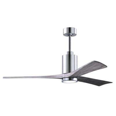 Patricia 60 in. LED Indoor/Outdoor Damp Polished Chrome Ceiling Fan with Light with Remote Control, Wall Control