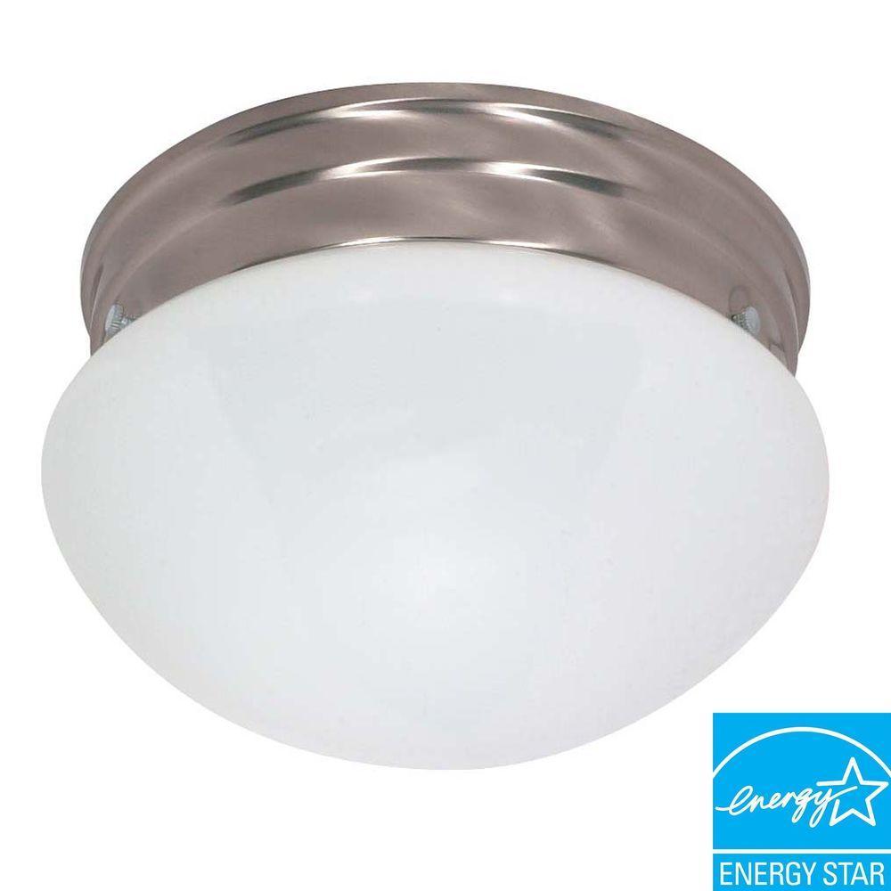 2-Light Brushed Nickel Medium Mushroom Flushmount