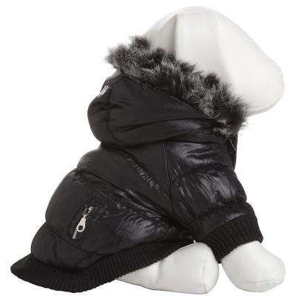 Medium Jet Black Metallic Fashion Parka with Removable Hood