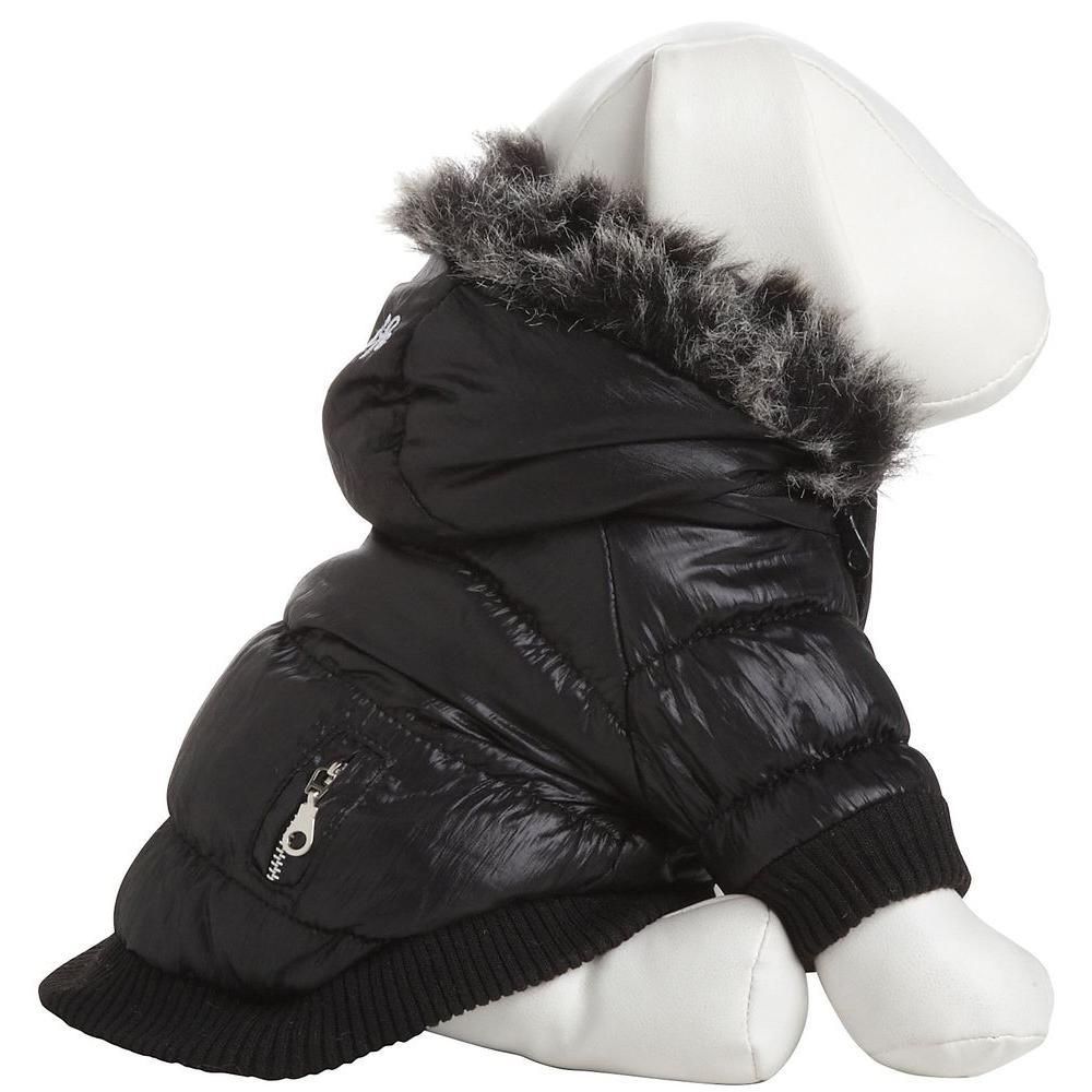 Small Jet Black Metallic Fashion Parka with Removable Hood