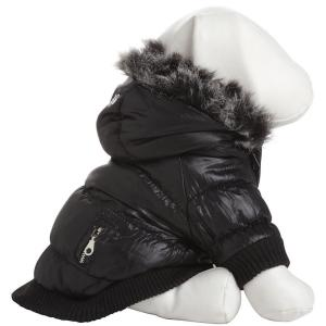 PET LIFE X-Small Jet Black Metallic Fashion Parka with Removable Hood by PET LIFE