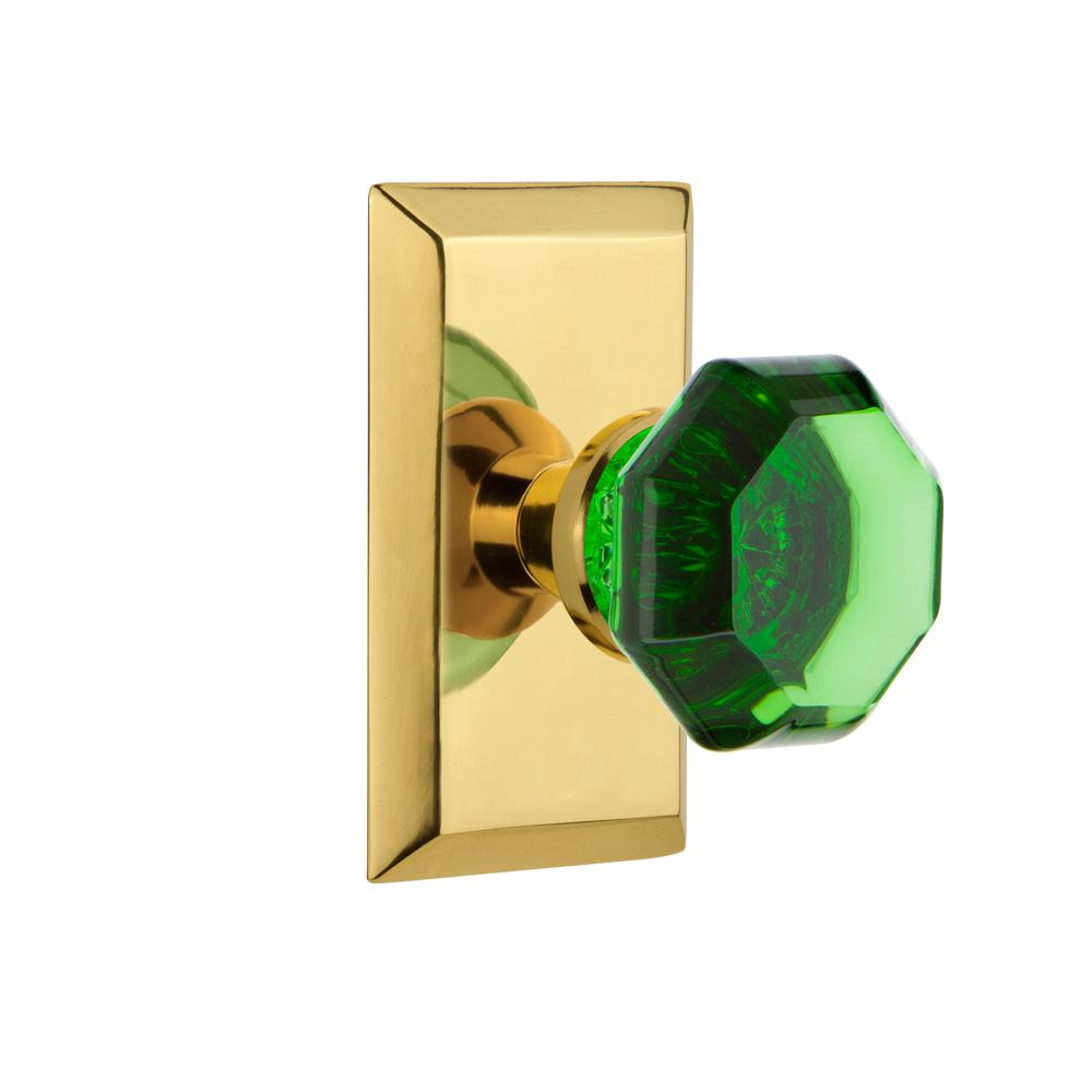 Studio Plate 2-3/4 in. Backset Polished Brass Privacy Waldorf Emerald Door Knob