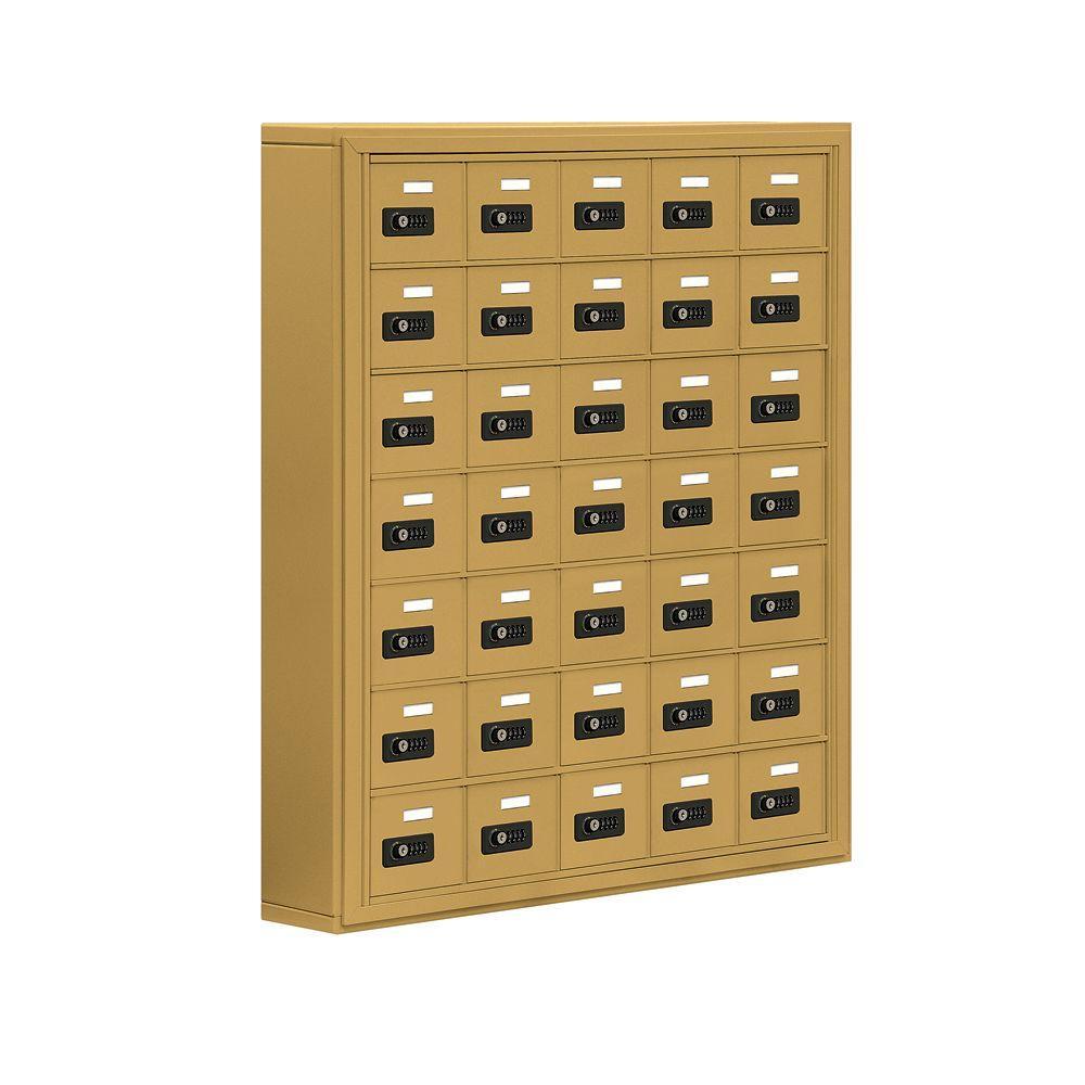 19000 Series 37 in. W x 42 in. H x 6.25 in. D 35 A Doors S-Mount Resettable Locks Cell Phone Locker in Gold