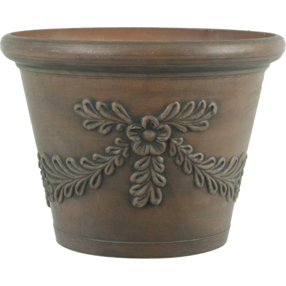 12 in. Dia Garland Brown Plastic Planter