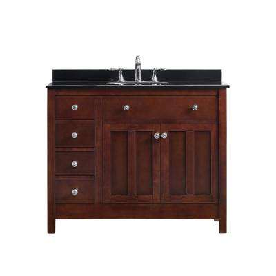 Adam 42 in. W x 21 in. D Vanity in Dark Cherry with Granite Vanity Top in Black with White Basin
