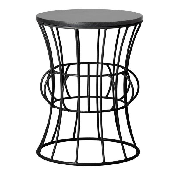 Belle Black Metal Side Table with Black Granite