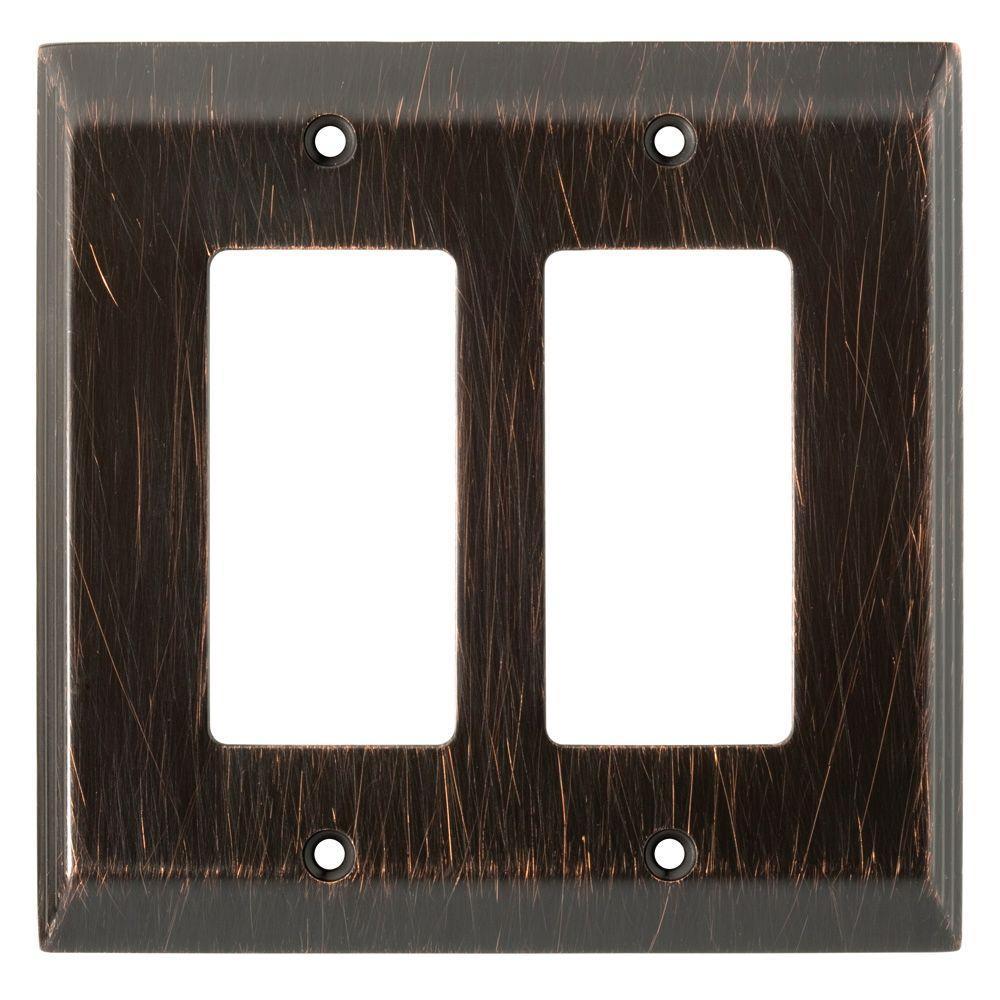 Stately Decorative Double Rocker Switch Plate, Venetian Bronze