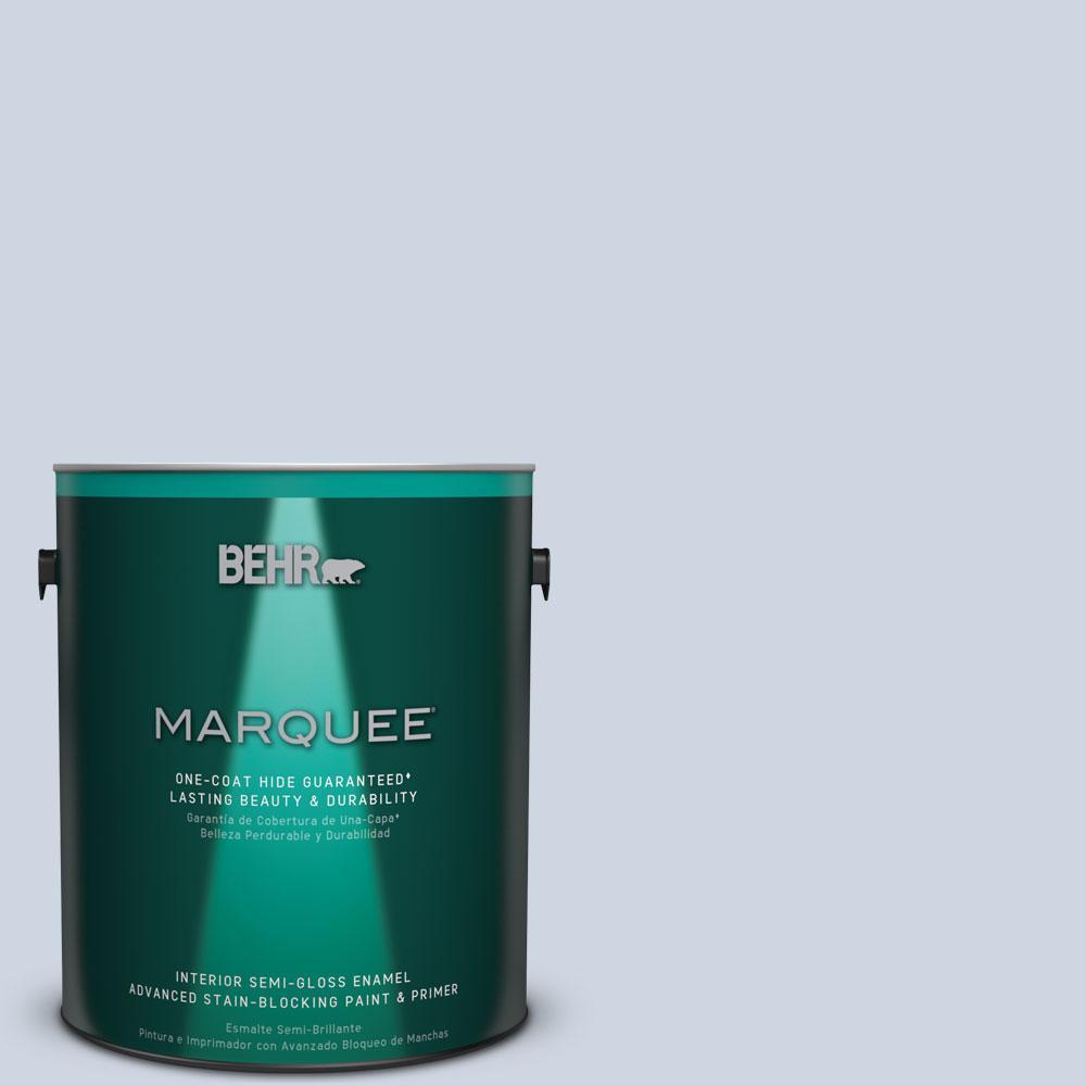 1 gal. #MQ3-60 Blue Gossamer One-Coat Hide Semi-Gloss Enamel Interior Paint