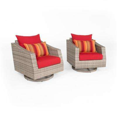 Cannes 2-Piece All-Weather Wicker Patio Motion Club Chair Seating Set with Sunset Red Cushions