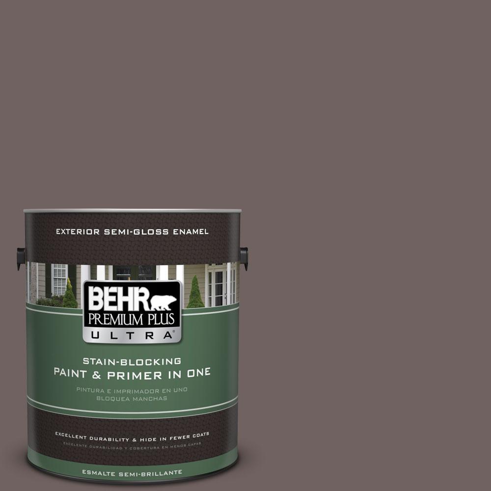 BEHR Premium Plus Ultra 1-gal. #N140-6 Wright Brown Semi-Gloss Enamel Exterior Paint