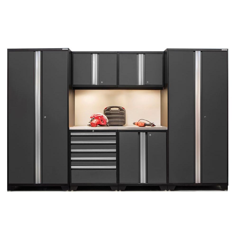 Pro 3 Series 85 in. H x 128 in. W x 24 in. D 18-Gauge Welded Steel Stainless Steel Worktop Cabinet Set in Gray (7-Piece)