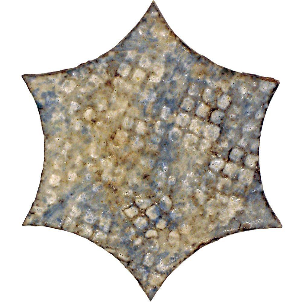Merola Tile Cometa Cielo Blue 4 in. x 4 in. Terra Cotta Medallion Trim Tile