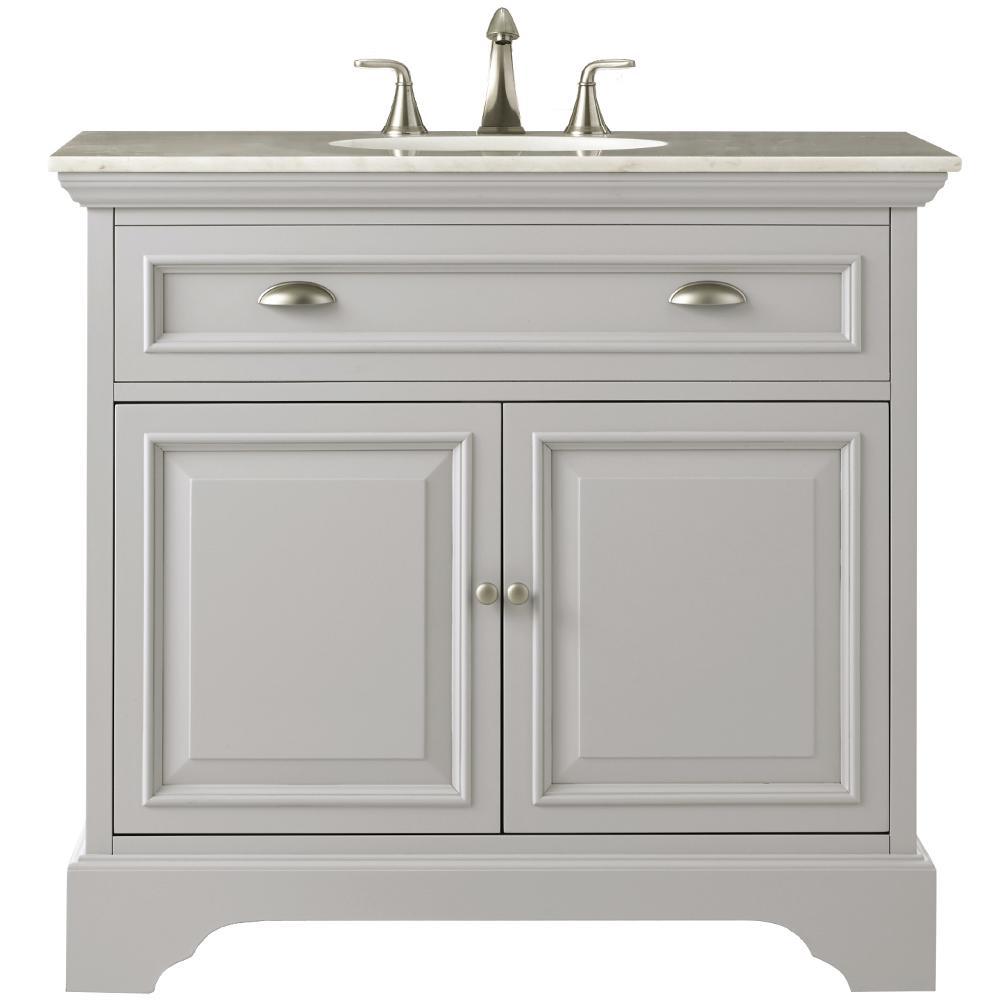 Home Decorators Collection Sadie 38 In W Bath Vanity In Dove Grey With Natural Marble Vanity