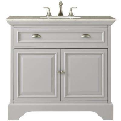 Sadie 38 in. W Bath Vanity in Dove Grey with Natural Marble Vanity Top in White
