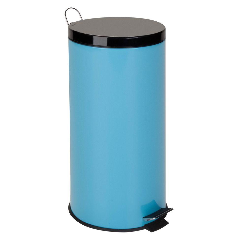 Honey Can Do 30 L Blue Round Metal Step On Touchless Trash Can
