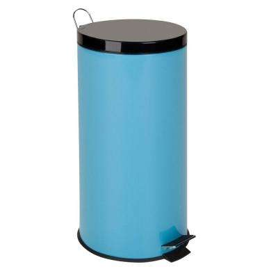 30 l Blue Round Metal Step-On Touchless Trash Can