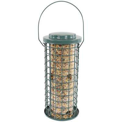 13 in. Green Wire Wild Bird Feeder with Inner Plastic Tube