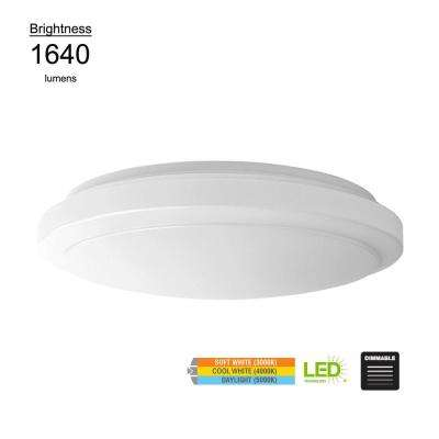Low Profile Puff Style 16 in. Round White 100 Watt Equivalent Integrated LED Flushmount (Dimmable)