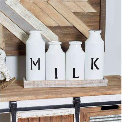 Brown Decorative Tray with 4-Distressed White Milk Bottles