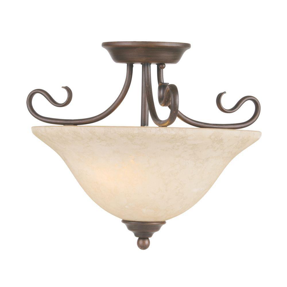 Livex Lighting 2-Light Bronze Flushmount with Vintage Scavo Glass