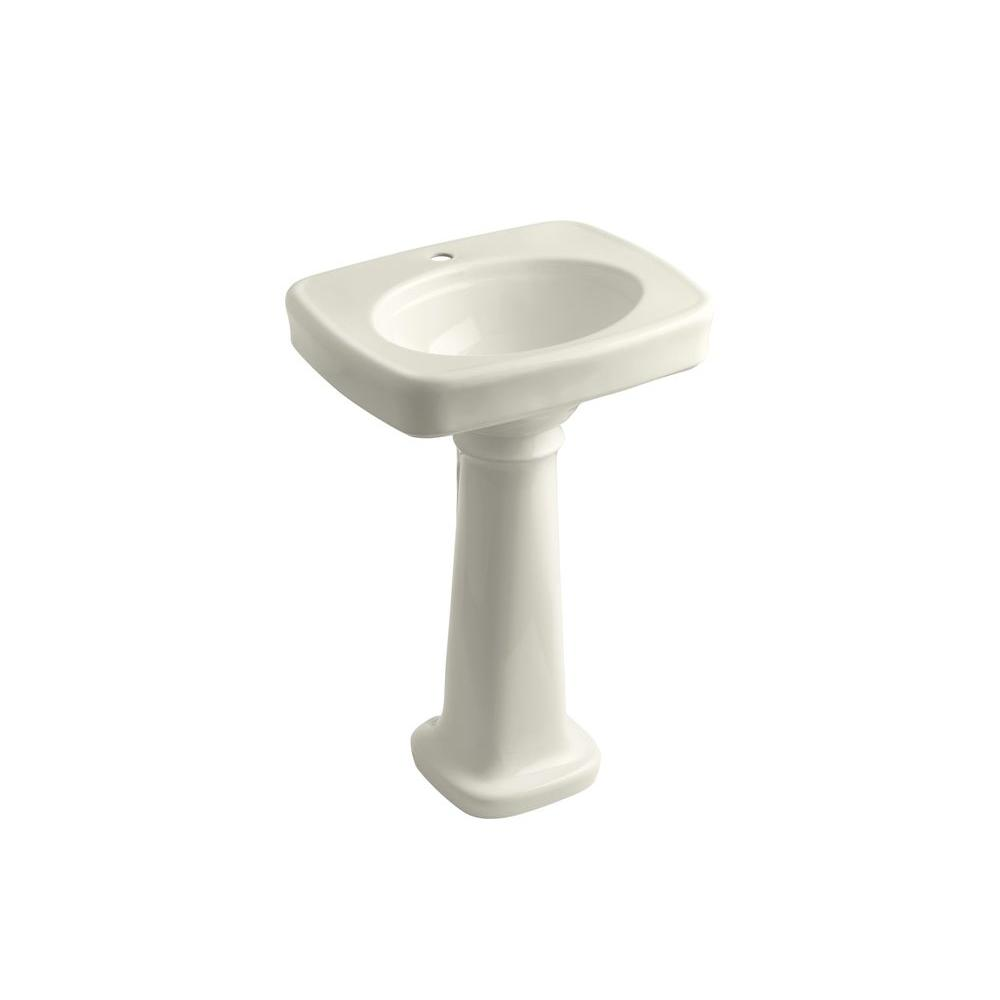 Bancroft Vitreous China Pedestal Combo Bathroom Sink in Biscuit with Overflow