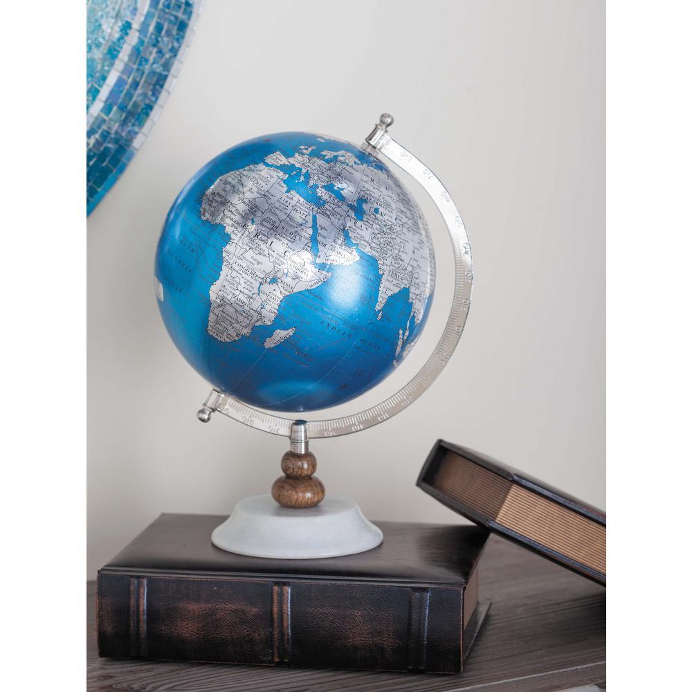 13 in. x 9 in. Modern Decorative Globe in Silver and Blue