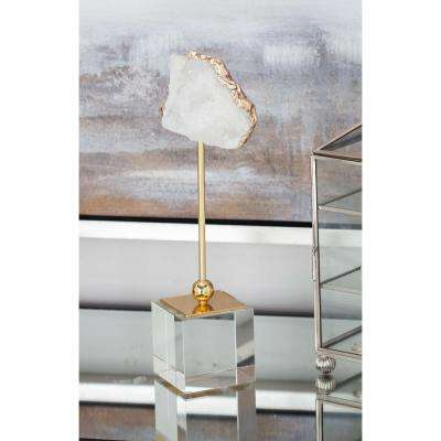 Natural Geode Sculpture with Metal and Glass Stand
