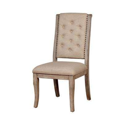 Reina Rustic Natural Tone Fabric Tufted Side Chair (Set of 2)